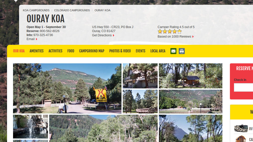 Ouray KOA Campground & Creekside Cafe
