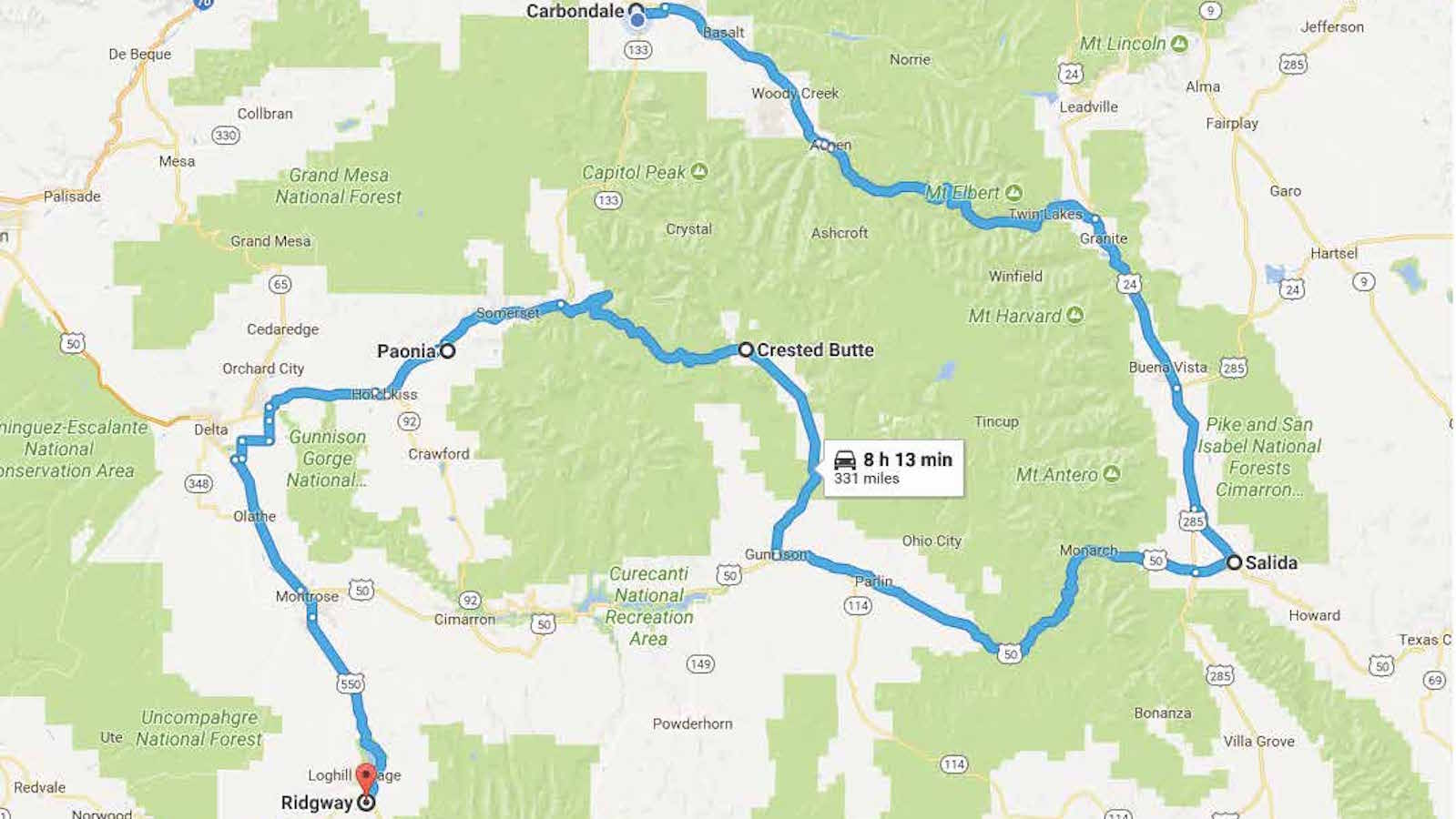 Creative Corridor route from Salida to Ridgway