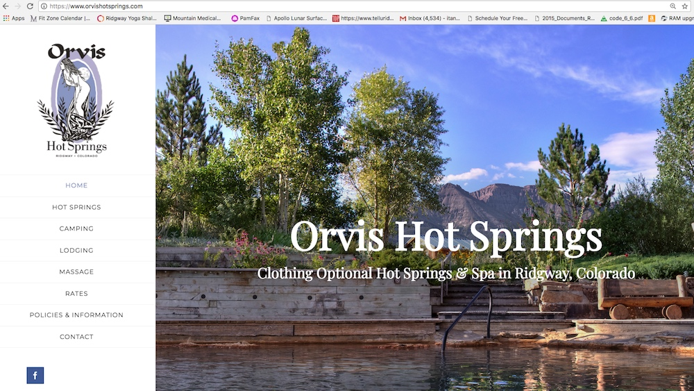Orvis Hot Springs website home page
